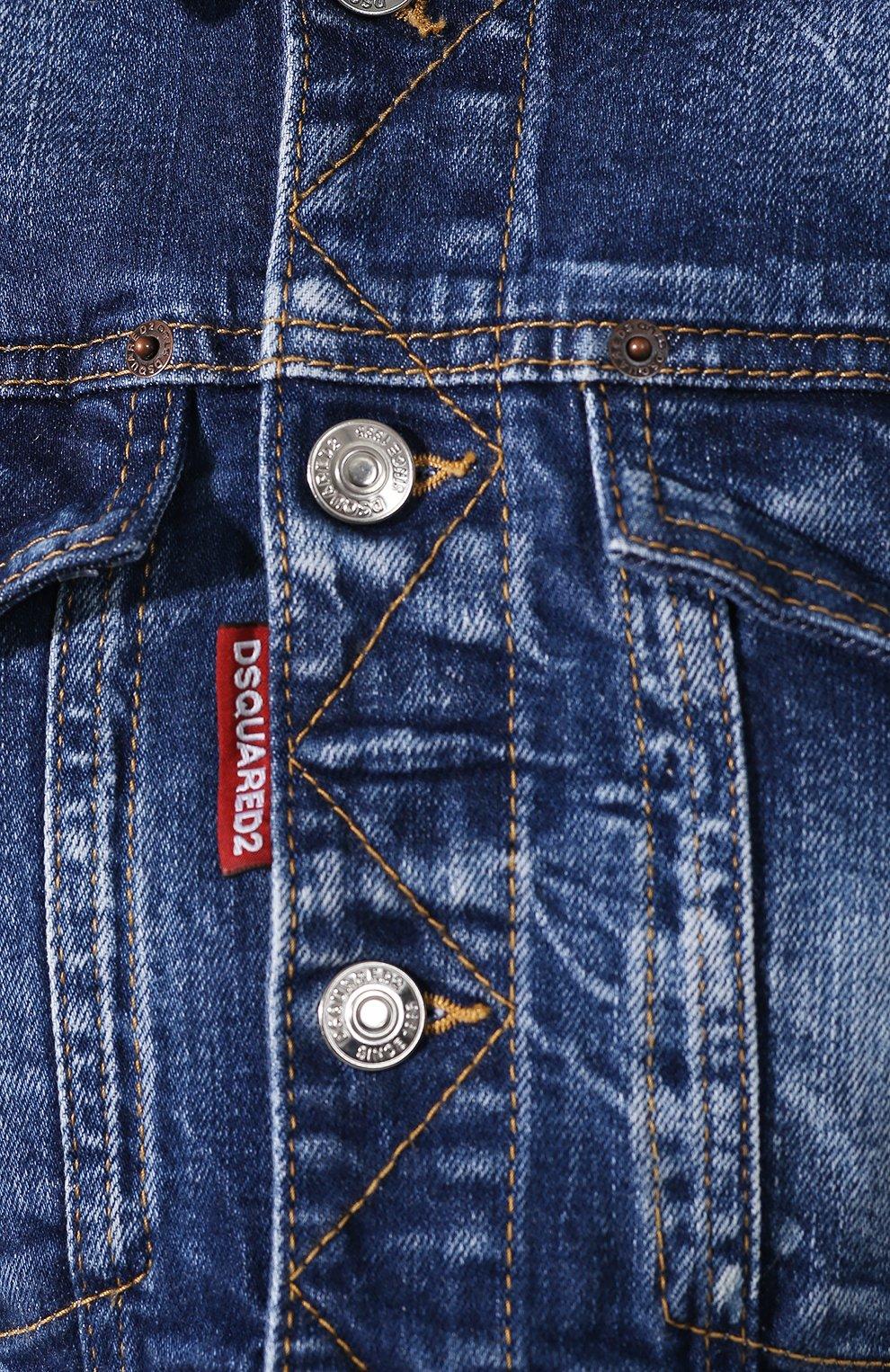 Женская джинсовая куртка DSQUARED2 синего цвета, арт. S80AM0003/S30663 | Фото 5
