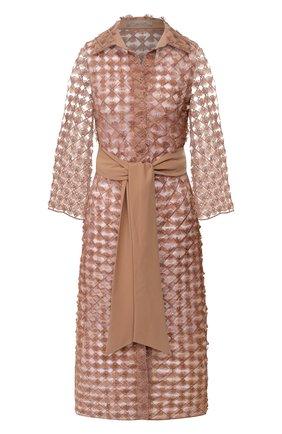 Женское пальто с поясом D.EXTERIOR бежевого цвета, арт. 50662   Фото 1