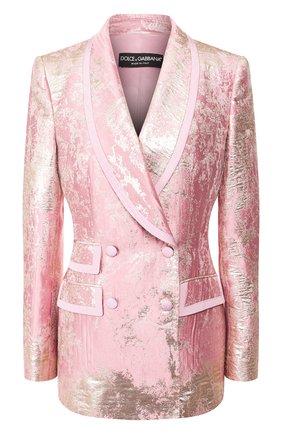 Женский двубортный жакет DOLCE & GABBANA розового цвета, арт. F29EIT/HJMJR | Фото 1