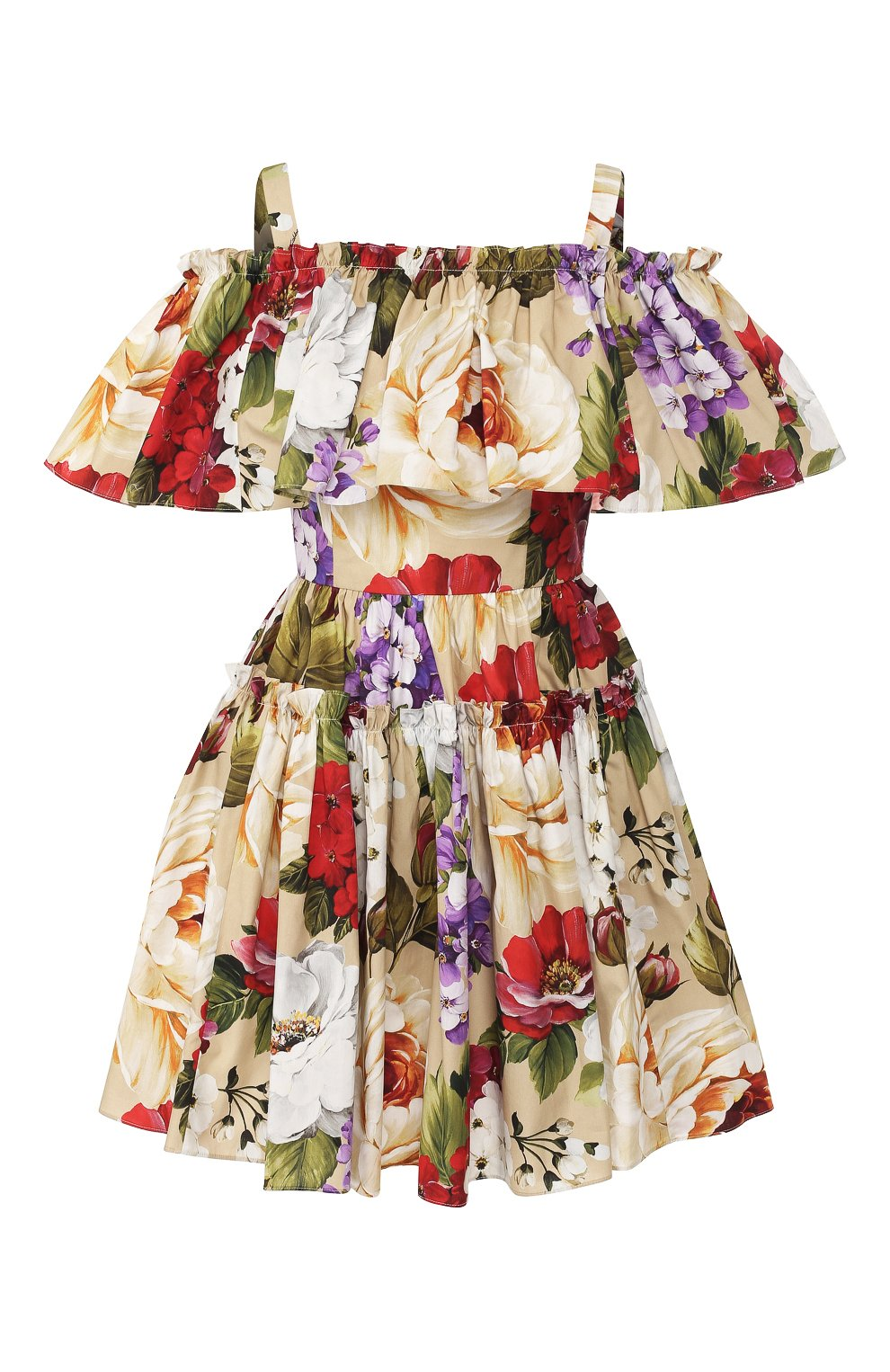 Женское хлопковое платье DOLCE & GABBANA бежевого цвета, арт. F63X7T/HS5GA   Фото 1
