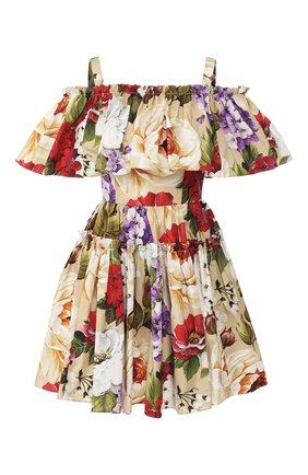 Женское хлопковое платье DOLCE & GABBANA бежевого цвета, арт. F63X7T/HS5GA | Фото 1