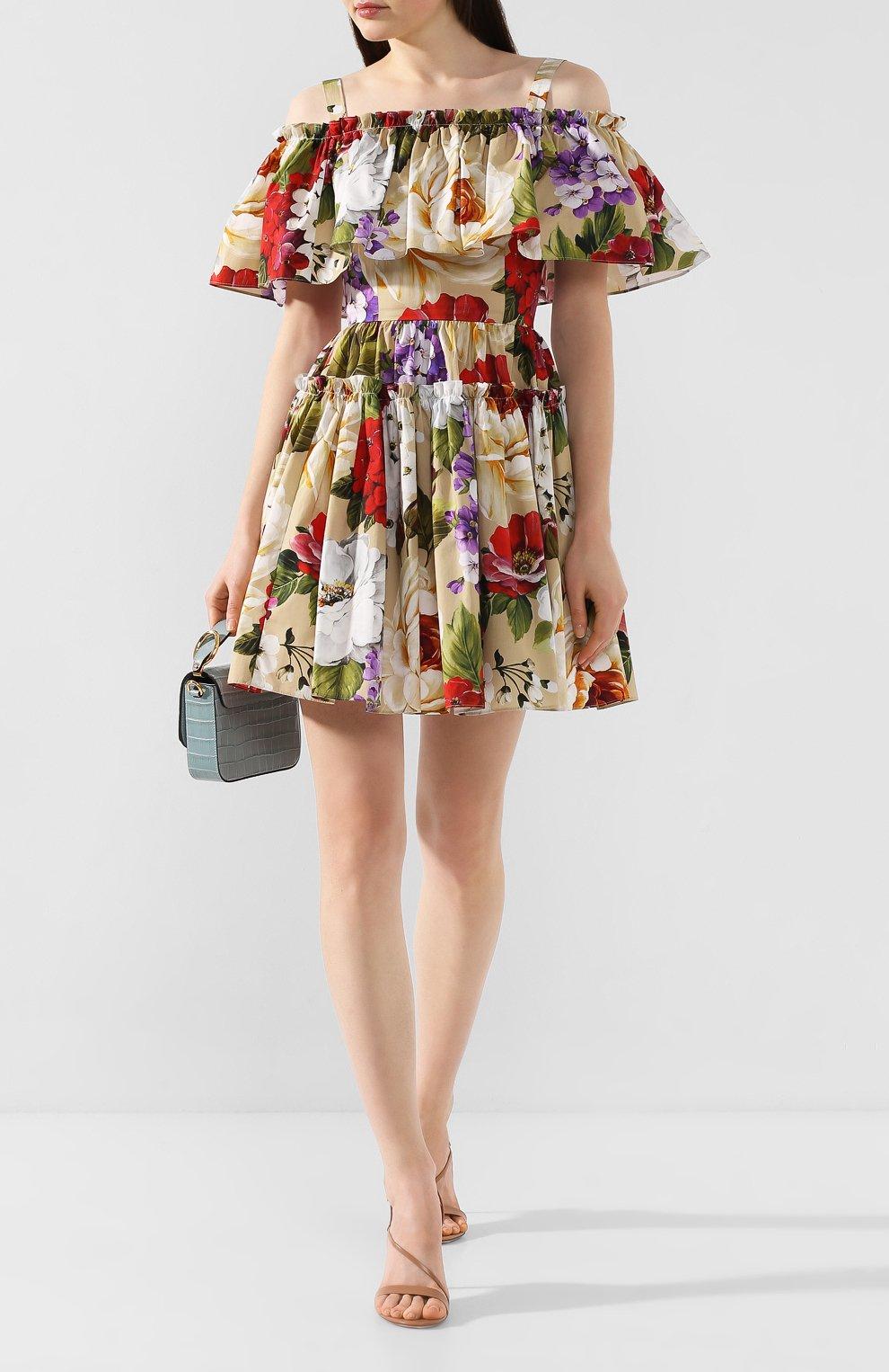 Женское хлопковое платье DOLCE & GABBANA бежевого цвета, арт. F63X7T/HS5GA   Фото 2