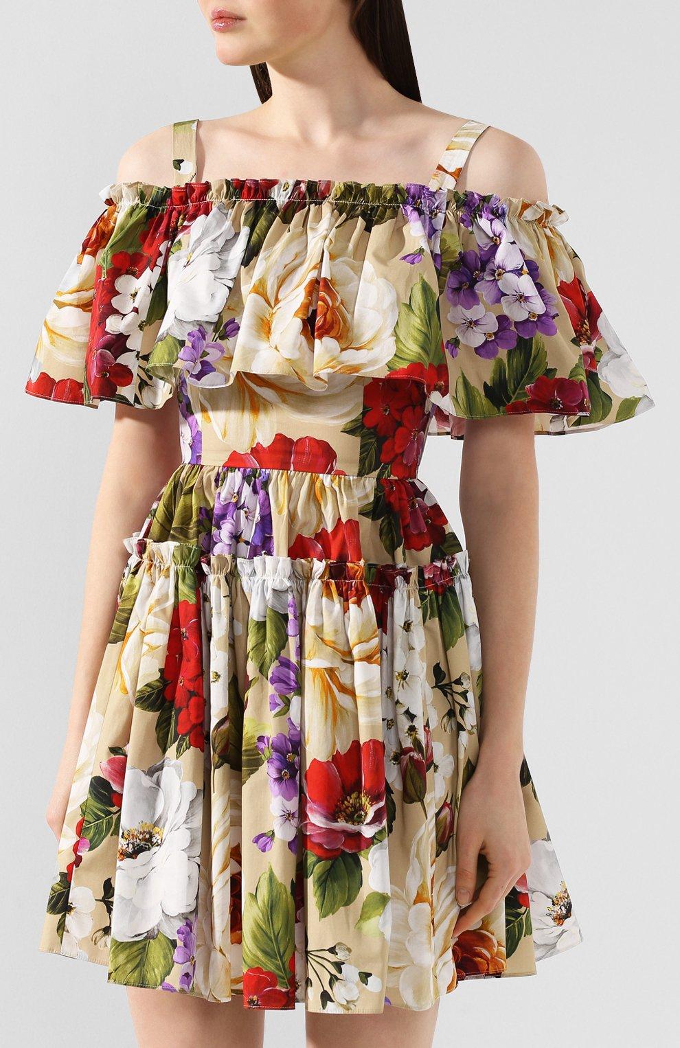 Женское хлопковое платье DOLCE & GABBANA бежевого цвета, арт. F63X7T/HS5GA   Фото 3
