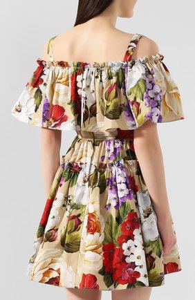 Женское хлопковое платье DOLCE & GABBANA бежевого цвета, арт. F63X7T/HS5GA   Фото 4