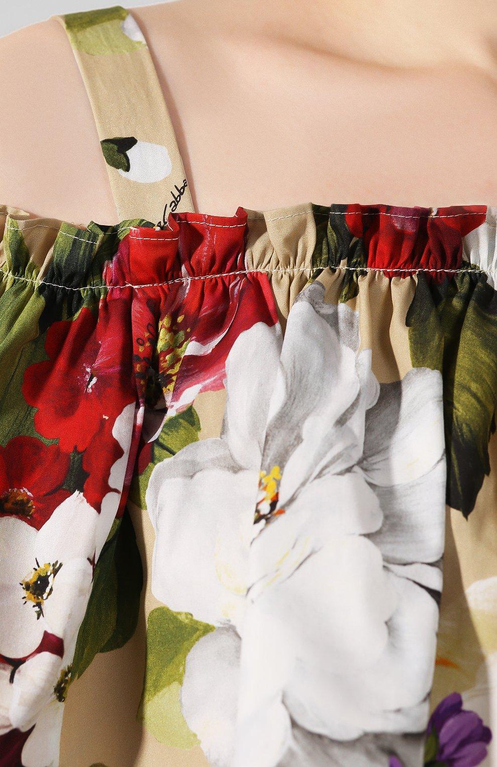 Женское хлопковое платье DOLCE & GABBANA бежевого цвета, арт. F63X7T/HS5GA   Фото 5