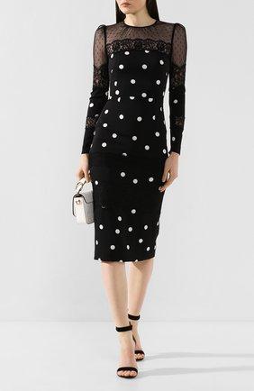 Женское платье-миди DOLCE & GABBANA черно-белого цвета, арт. F6H6JT/FSAY0 | Фото 2