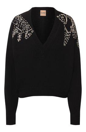 Женская хлопковый свитер NUDE черного цвета, арт. 1101721/V NECK SWEATER | Фото 1