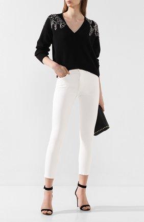 Женская хлопковый свитер NUDE черного цвета, арт. 1101721/V NECK SWEATER | Фото 2