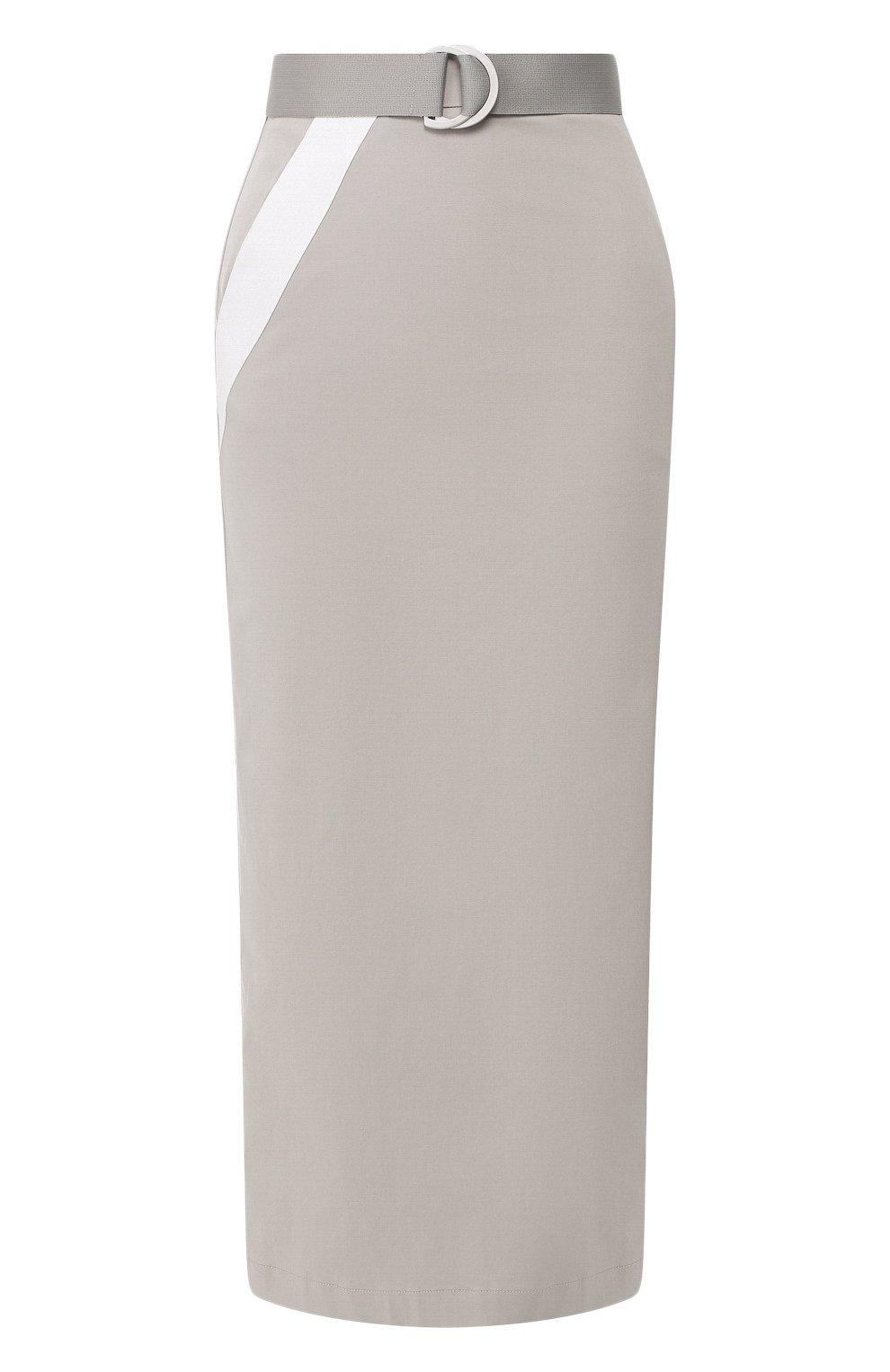 Женская хлопковая юбка LORENA ANTONIAZZI серого цвета, арт. P2033G0006/3184 | Фото 1 (Женское Кросс-КТ: Юбка-карандаш; Материал внешний: Хлопок; Длина Ж (юбки, платья, шорты): Миди)