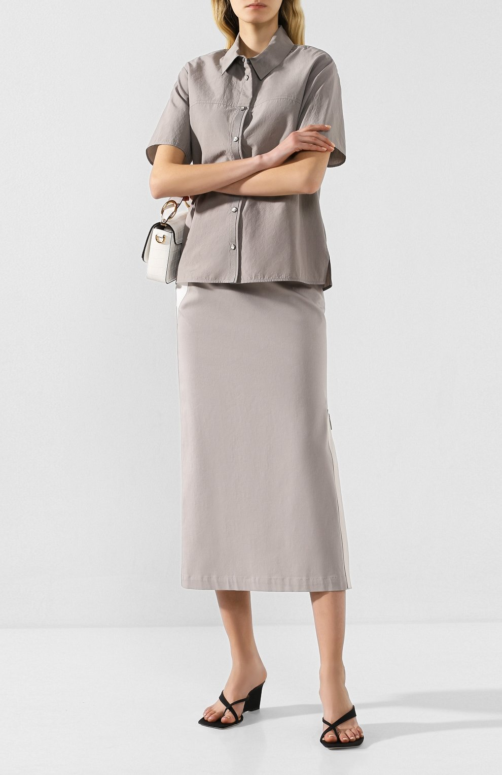 Женская хлопковая юбка LORENA ANTONIAZZI серого цвета, арт. P2033G0006/3184 | Фото 2 (Женское Кросс-КТ: Юбка-карандаш; Материал внешний: Хлопок; Длина Ж (юбки, платья, шорты): Миди)