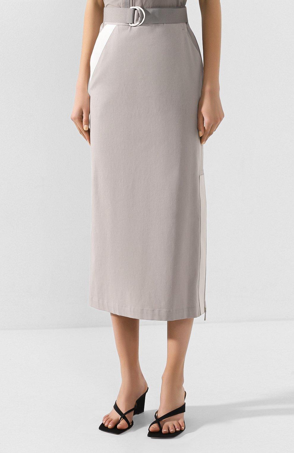 Женская хлопковая юбка LORENA ANTONIAZZI серого цвета, арт. P2033G0006/3184 | Фото 3 (Женское Кросс-КТ: Юбка-карандаш; Материал внешний: Хлопок; Длина Ж (юбки, платья, шорты): Миди)