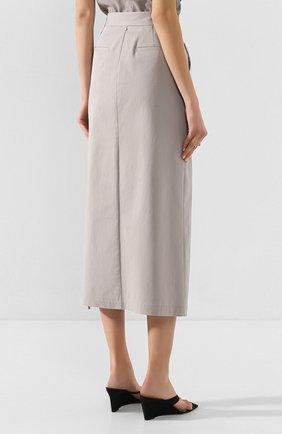 Женская хлопковая юбка LORENA ANTONIAZZI серого цвета, арт. P2033G0006/3184 | Фото 4 (Женское Кросс-КТ: Юбка-карандаш; Материал внешний: Хлопок; Длина Ж (юбки, платья, шорты): Миди)