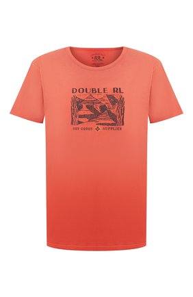 Мужская хлопковая футболка RRL красного цвета, арт. 782775286 | Фото 1 (Рукава: Короткие; Материал внешний: Хлопок; Длина (для топов): Стандартные; Мужское Кросс-КТ: Футболка-одежда; Стили: Кэжуэл)