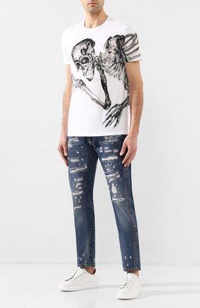 Мужская хлопковая футболка ALEXANDER MCQUEEN белого цвета, арт. 609587/Q0ZA8 | Фото 2