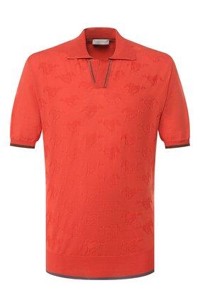 Мужское хлопковое поло CORTIGIANI оранжевого цвета, арт. 819139/0000 | Фото 1