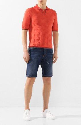 Мужское хлопковое поло CORTIGIANI оранжевого цвета, арт. 819139/0000 | Фото 2