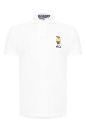 Мужское хлопковое поло POLO RALPH LAUREN белого цвета, арт. 710792901 | Фото 1