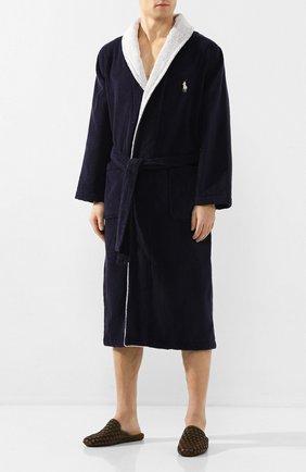 Мужской хлопковый халат RALPH LAUREN темно-синего цвета, арт. 714784459 | Фото 2