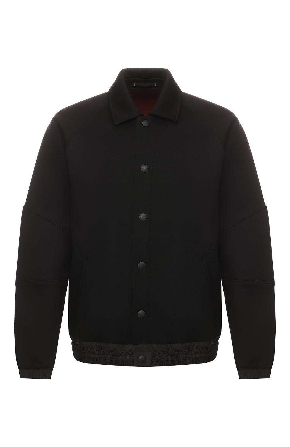 Мужской бомбер ZEGNA COUTURE черного цвета, арт. CUCJ01/7UJ60   Фото 1 (Кросс-КТ: Куртка; Рукава: Длинные; Принт: Без принта; Материал внешний: Синтетический материал, Хлопок; Мужское Кросс-КТ: Верхняя одежда; Длина (верхняя одежда): Короткие; Стили: Кэжуэл)