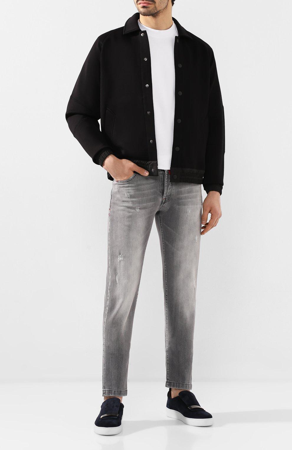 Мужской бомбер ZEGNA COUTURE черного цвета, арт. CUCJ01/7UJ60   Фото 2 (Кросс-КТ: Куртка; Рукава: Длинные; Принт: Без принта; Материал внешний: Синтетический материал, Хлопок; Мужское Кросс-КТ: Верхняя одежда; Длина (верхняя одежда): Короткие; Стили: Кэжуэл)