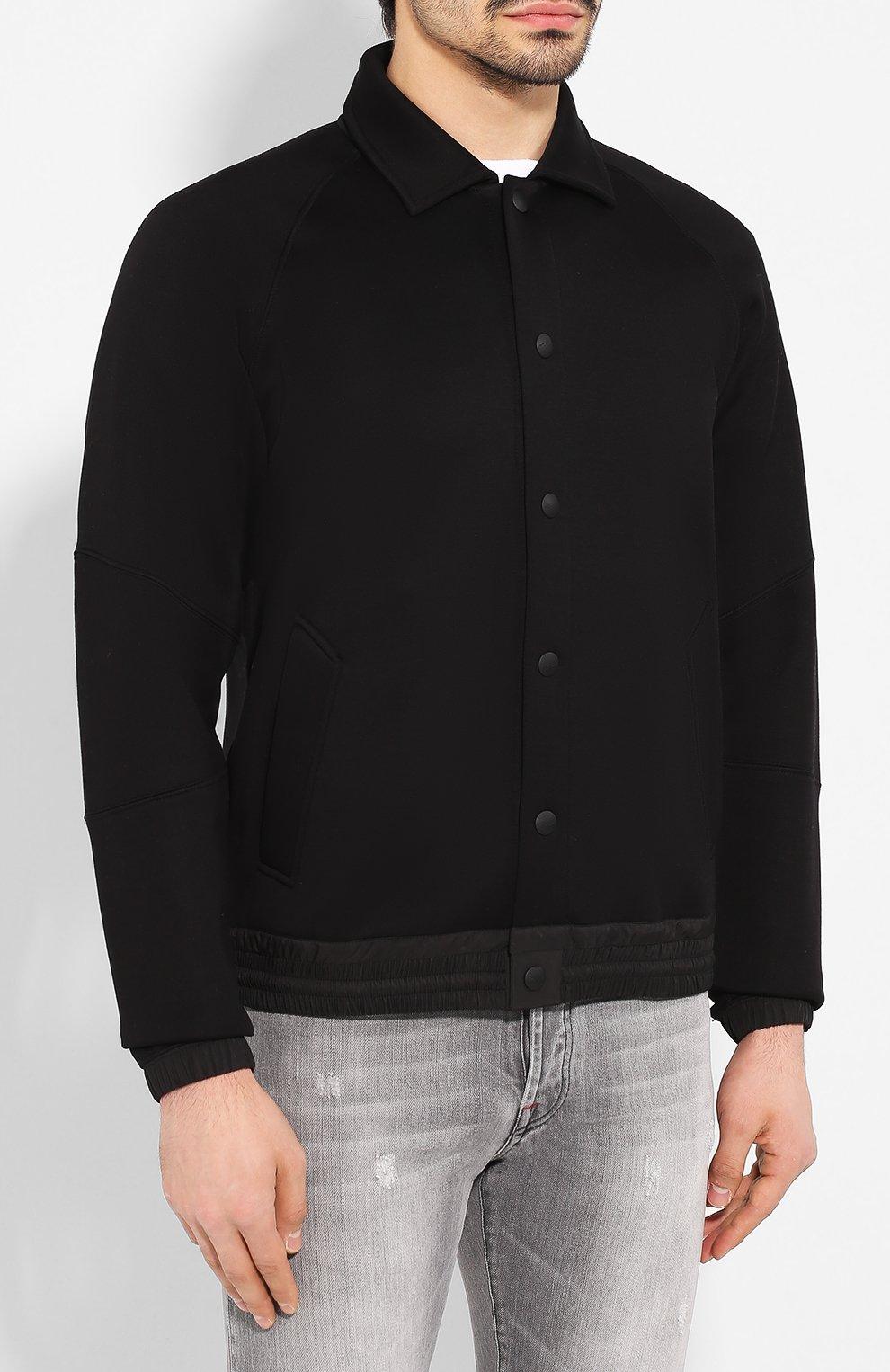 Мужской бомбер ZEGNA COUTURE черного цвета, арт. CUCJ01/7UJ60   Фото 3 (Кросс-КТ: Куртка; Рукава: Длинные; Принт: Без принта; Материал внешний: Синтетический материал, Хлопок; Мужское Кросс-КТ: Верхняя одежда; Длина (верхняя одежда): Короткие; Стили: Кэжуэл)