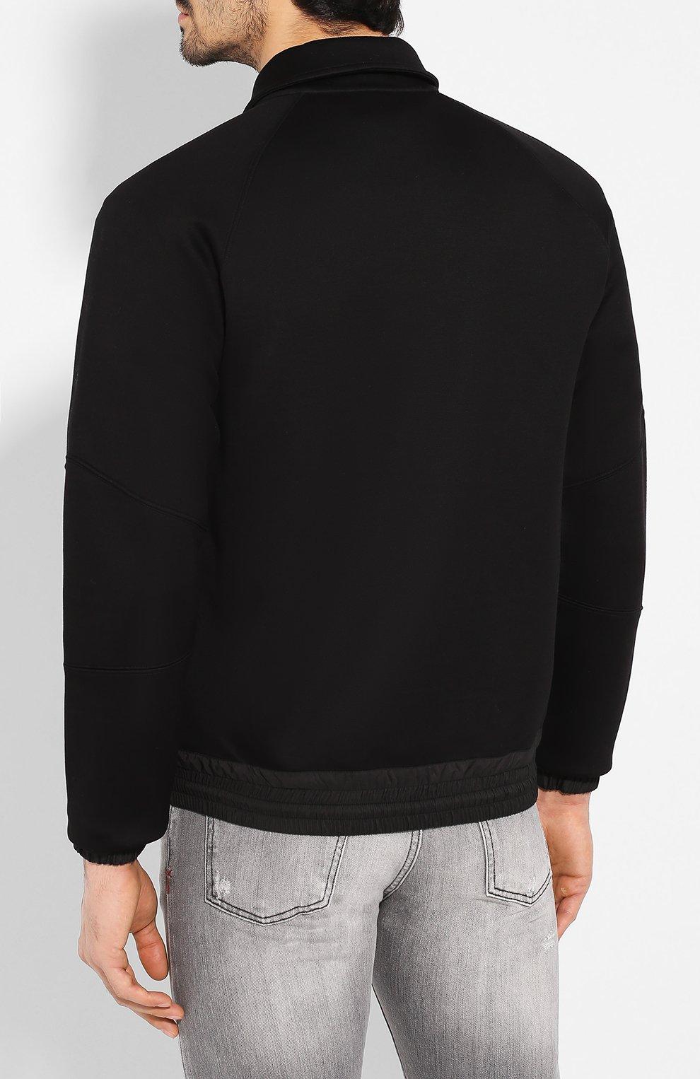 Мужской бомбер ZEGNA COUTURE черного цвета, арт. CUCJ01/7UJ60   Фото 4 (Кросс-КТ: Куртка; Рукава: Длинные; Принт: Без принта; Материал внешний: Синтетический материал, Хлопок; Мужское Кросс-КТ: Верхняя одежда; Длина (верхняя одежда): Короткие; Стили: Кэжуэл)