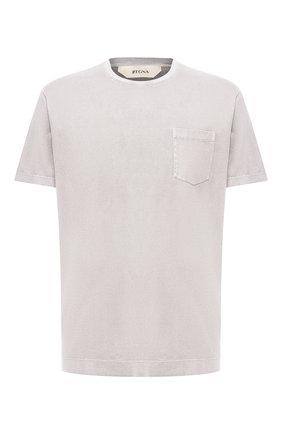 Мужская хлопковая футболка Z ZEGNA светло-серого цвета, арт. VU373/ZZ679   Фото 1