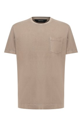 Мужская хлопковая футболка Z ZEGNA хаки цвета, арт. VU373/ZZ679 | Фото 1