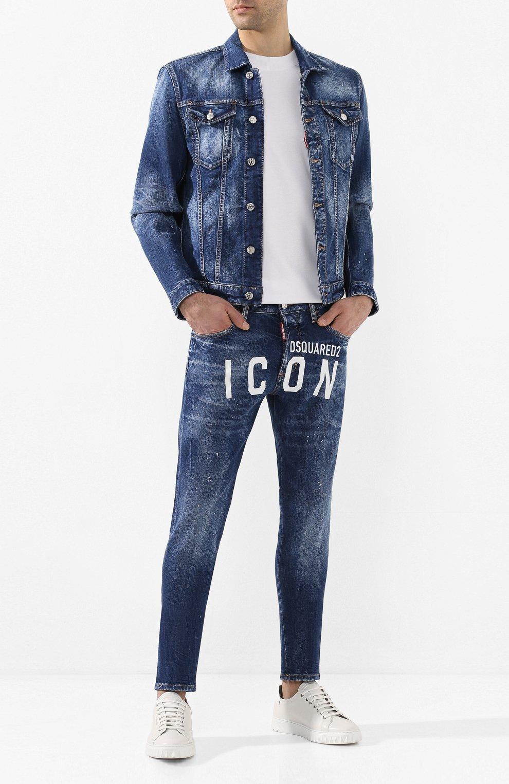 Мужские джинсы DSQUARED2 синего цвета, арт. S79LA0001/S30663   Фото 2 (Силуэт М (брюки): Узкие; Длина (брюки, джинсы): Стандартные; Материал внешний: Хлопок, Деним)