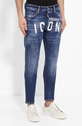 Мужские джинсы DSQUARED2 синего цвета, арт. S79LA0001/S30663   Фото 3 (Силуэт М (брюки): Узкие; Длина (брюки, джинсы): Стандартные; Материал внешний: Хлопок, Деним)