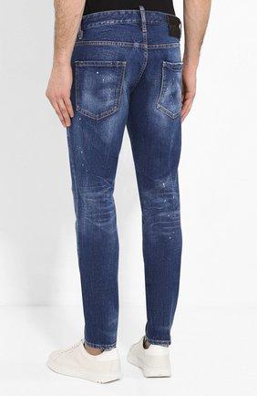 Мужские джинсы DSQUARED2 синего цвета, арт. S79LA0001/S30663   Фото 4 (Силуэт М (брюки): Узкие; Длина (брюки, джинсы): Стандартные; Материал внешний: Хлопок, Деним)