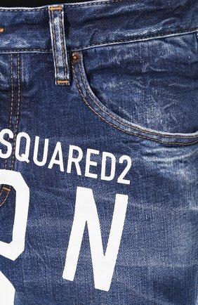 Мужские джинсы DSQUARED2 синего цвета, арт. S79LA0001/S30663   Фото 5 (Силуэт М (брюки): Узкие; Длина (брюки, джинсы): Стандартные; Материал внешний: Хлопок, Деним)