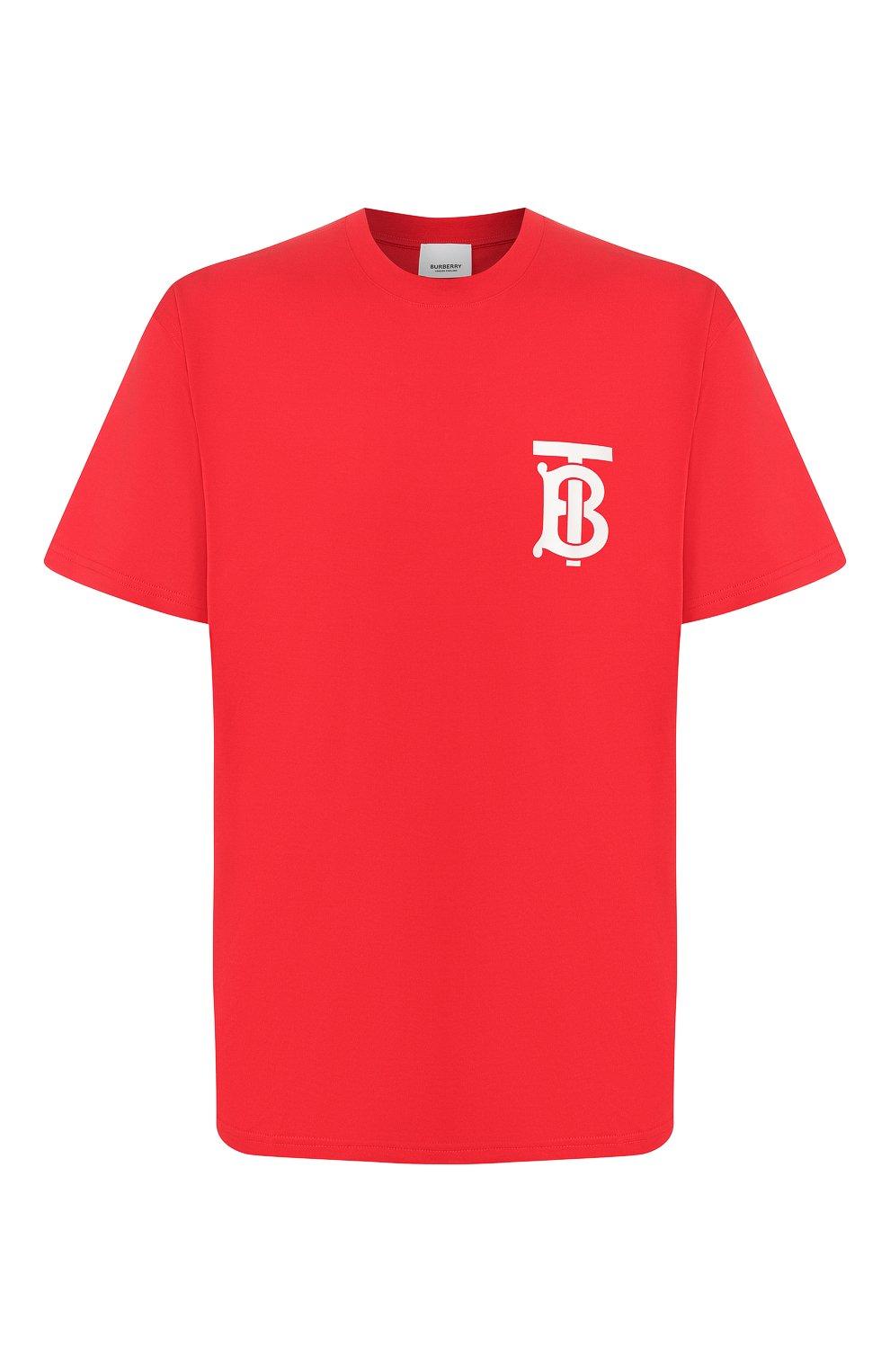 Мужская хлопковая футболка BURBERRY красного цвета, арт. 8025503 | Фото 1