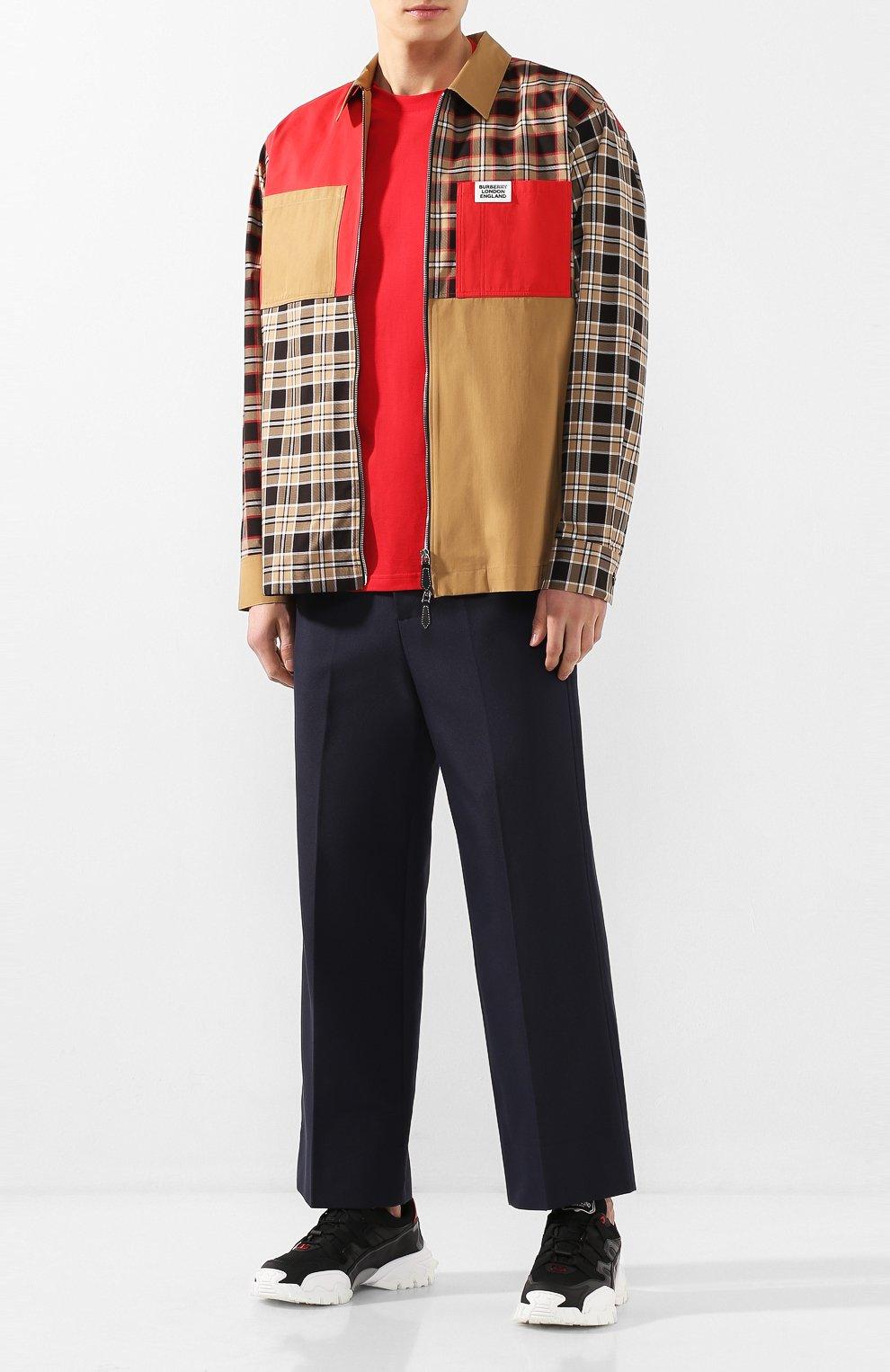 Мужская хлопковая футболка BURBERRY красного цвета, арт. 8025503 | Фото 2