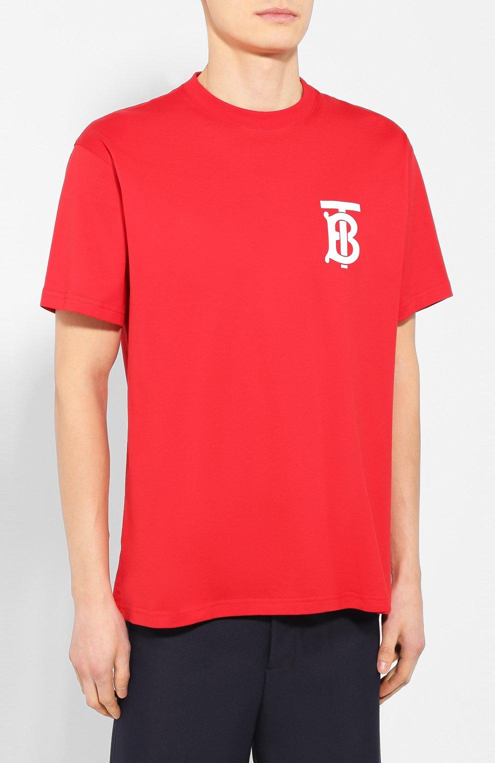 Мужская хлопковая футболка BURBERRY красного цвета, арт. 8025503 | Фото 3