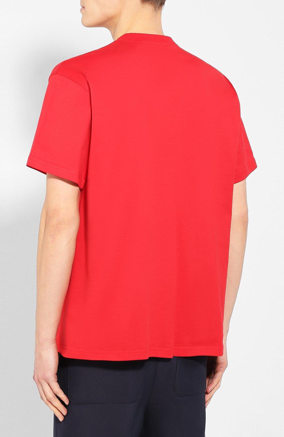 Мужская хлопковая футболка BURBERRY красного цвета, арт. 8025503 | Фото 4