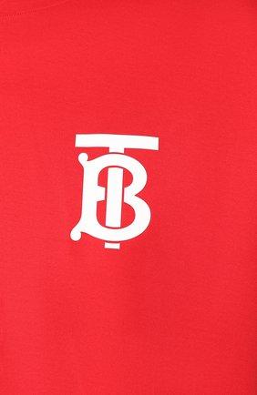 Мужская хлопковая футболка BURBERRY красного цвета, арт. 8025503 | Фото 5