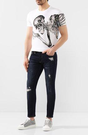 Мужские кожаные кеды SERGIO ROSSI черно-белого цвета, арт. A87090-MFN933 | Фото 2