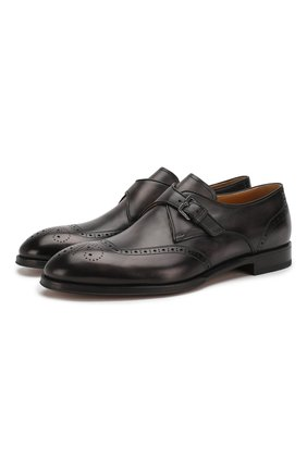 Мужские кожаные монки BERLUTI темно-серого цвета, арт. S5068-001 | Фото 1