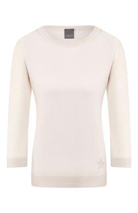 Женский пуловер из смеси шелка и шерсти LORENA ANTONIAZZI бежевого цвета, арт. P2053BM029/2728 | Фото 1