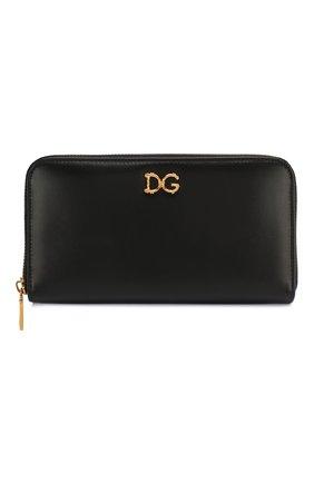 Женские кожаный кошелек DOLCE & GABBANA черного цвета, арт. BI0473/AX121 | Фото 1