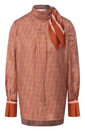 Женская шелковая блузка CHLOÉ коричневого цвета, арт. CHC20SHT81350 | Фото 1