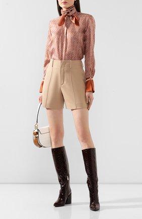 Женская шелковая блузка CHLOÉ коричневого цвета, арт. CHC20SHT81350 | Фото 2