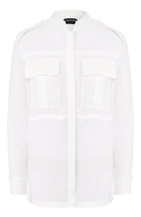 Женская шелковая рубашка TOM FORD белого цвета, арт. CA3148-FAX075   Фото 1