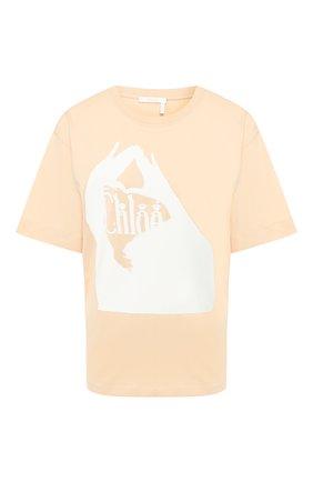 Женская хлопковая футболка CHLOÉ бежевого цвета, арт. CHC20SJH03181 | Фото 1