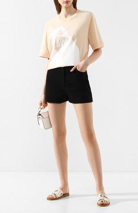 Женская хлопковая футболка CHLOÉ бежевого цвета, арт. CHC20SJH03181 | Фото 2