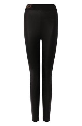 Женские кожаные леггинсы FENDI черного цвета, арт. FPP755 VQP | Фото 1