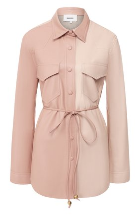 Женская рубашка с поясом NANUSHKA розового цвета, арт. EDDY_BLUSH PATCHW0RK_VEGAN LEATHER   Фото 1