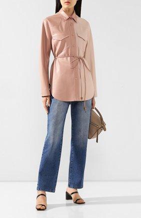 Женская рубашка с поясом NANUSHKA розового цвета, арт. EDDY_BLUSH PATCHW0RK_VEGAN LEATHER   Фото 2