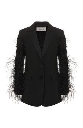 Женский жакет с отделкой перьями VALENTINO черного цвета, арт. TB3CE1S554S   Фото 1